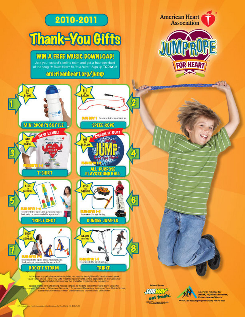 Jump rope for heart prizes